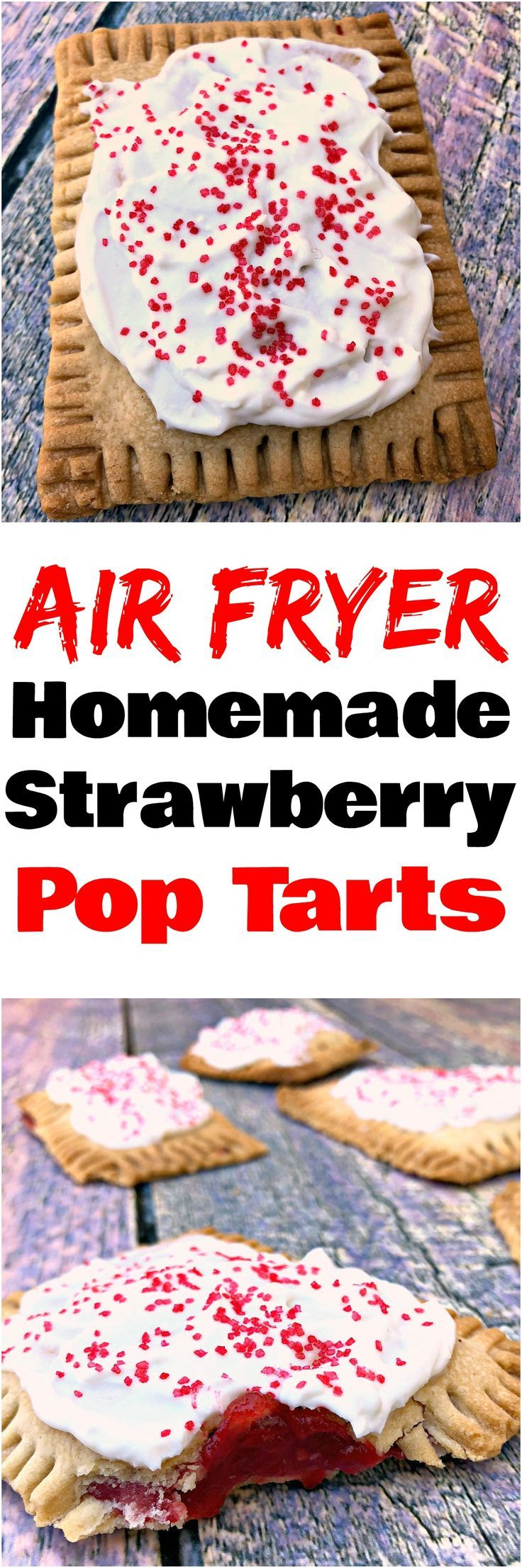 Air Fryer Homemade Strawberry Pop Tarts is a quick and easy healthy dessert recipe with refined sugar-free frosting using reduced-fat cream cheese, vanilla Greek yogurt, and stevia. A kid-friendly recipe that is great for adults, too! #PopTarts #Homemade #AirFryer #AirFryerRecipes