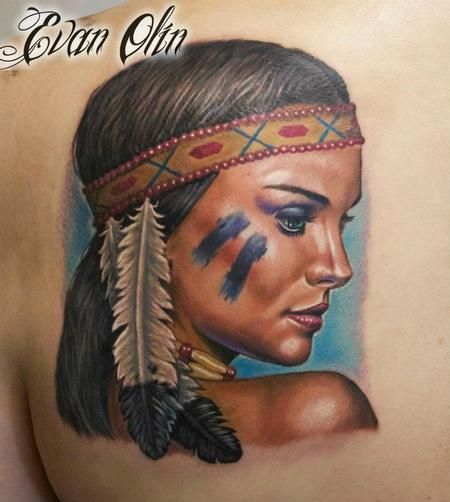 island girl tattoo designs | ... - Full color realistic Natalie Portman inspired Indian girl tattoo