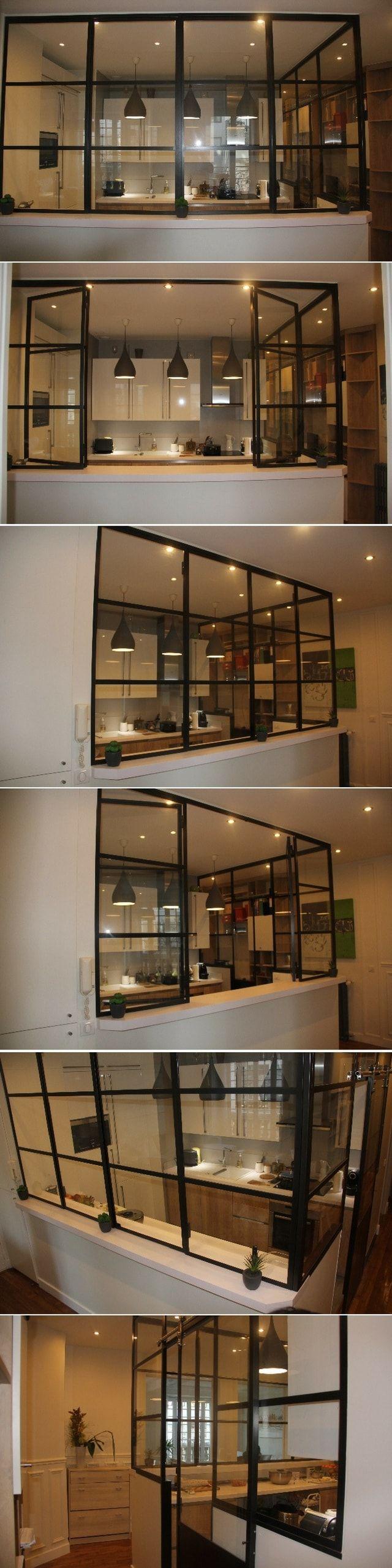 Pratique et décorative : la verrière intérieure avec 2 panneaux ouvrants    http://www.homelisty.com/verriere-interieure/