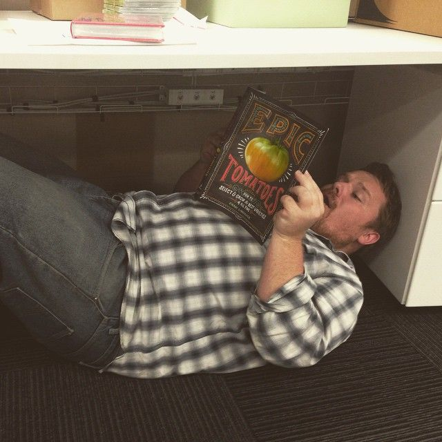 Sometimes we read award winning literature. And sometimes we read Epic Tomatoes under our desks. Happy Friday book lovers.