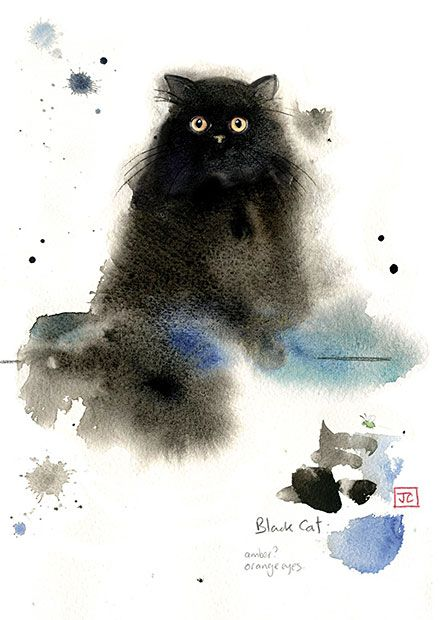 Fluffy Black Cat by Jane Crowther. Design for Bug Art greeting cards.
