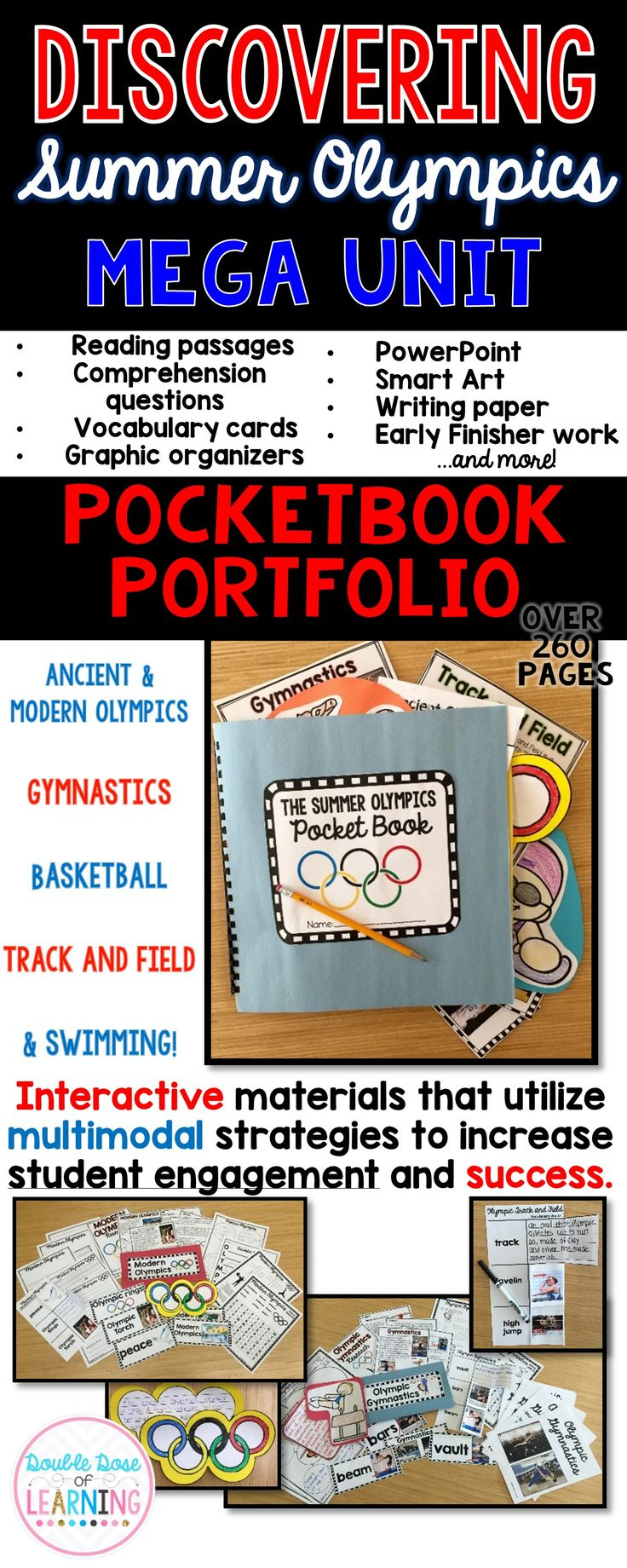 Are your students eager to learn about the Olympic Summer games in Rio? Get your students engaged with informational text by teaching a 6 week long unit on the Summer Olympics! This bundle includes 6 separate week long unit plans that are also sold individually (Ancient Olympics, Modern Olympics, Swimming, Gymnastics, Track and Field and Basketball), but have been bundled together for a  discount price of 20% off.  The materials in this unit are interactive and utilize multimodal strategies…