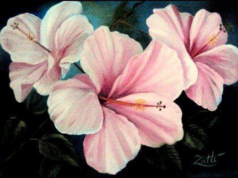 Como Pintar - Hibiscos Cor de Rosa - Pintura em Tecido - YouTube
