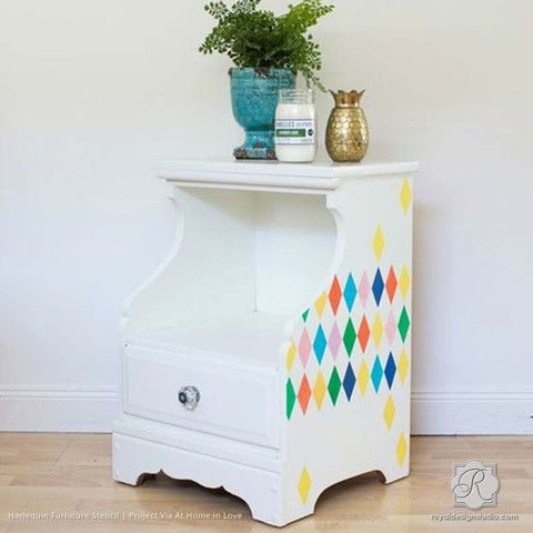 Harlequin Wall & Furniture Stencil | Modern or Retro DIY Paint Project | Royal Design Studio