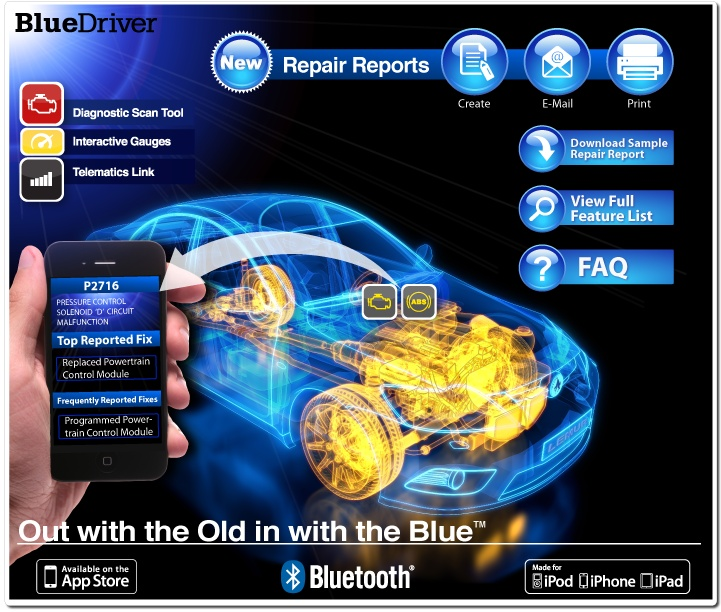 BlueDriver Bluetooth OBD2 Scan Tool works with the BlueDriver App on iTunes. Get it for your iPhone, iPad or iPod touch. $99.95 (OBD OBDII OBD-2 OBD-II)