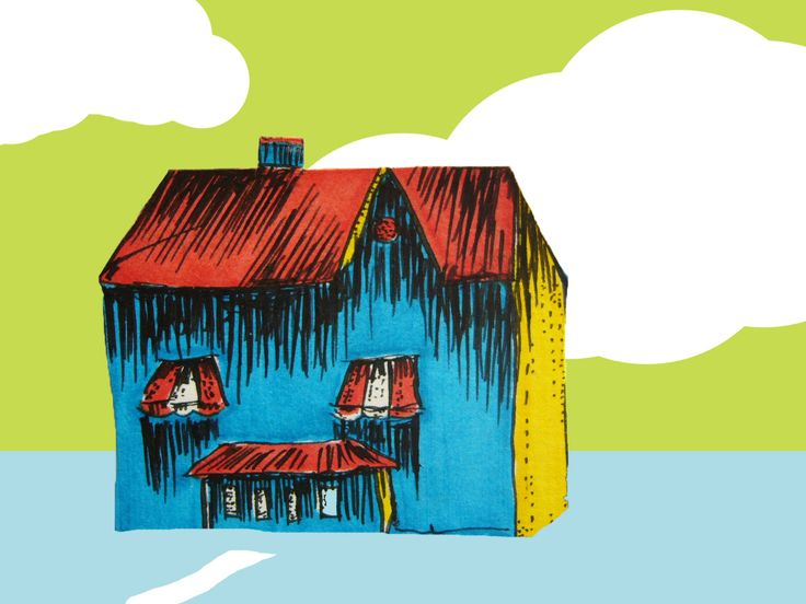 ART EVERY DAY NUMBER 36 / DRAWING & digital / THE HOUSE depicts an imaginary house in an imaginary world.  In the blue house, cotton candy, jelly beans and chocolate covered ants are served at every meal.   One small piece of art a day / Janet Bright