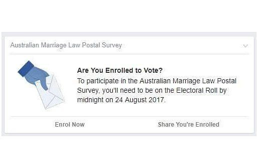 "Facebook making sure we're all enrolled to vote in the upcoming marriage equality ""survey""  Have you seen this on your newsfeed today? - http://ift.tt/1HQJd81"