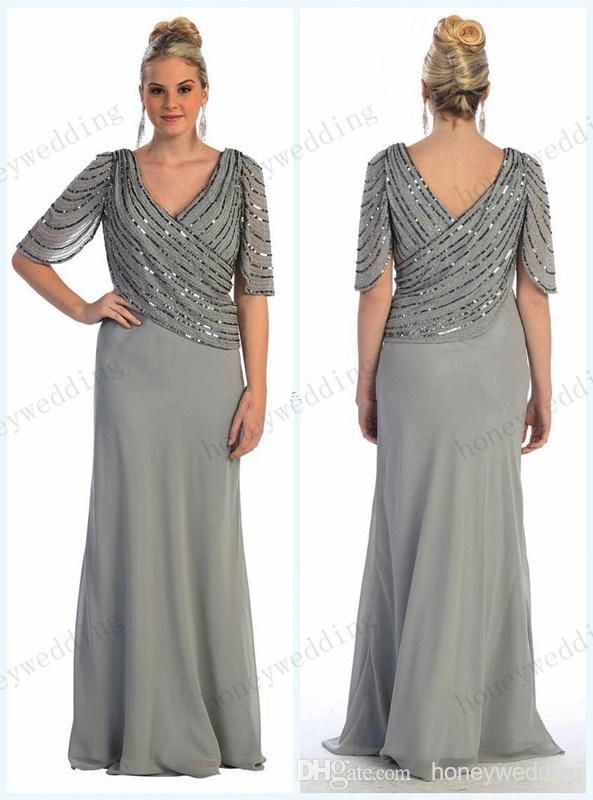 418123eb6e 2019 Spring New Arrival Plus Size Beading Chiffon Mother Of The Bride  Dresses V-Neckline Half Sleeve Sheath Floor Length Mother Dress in 2019