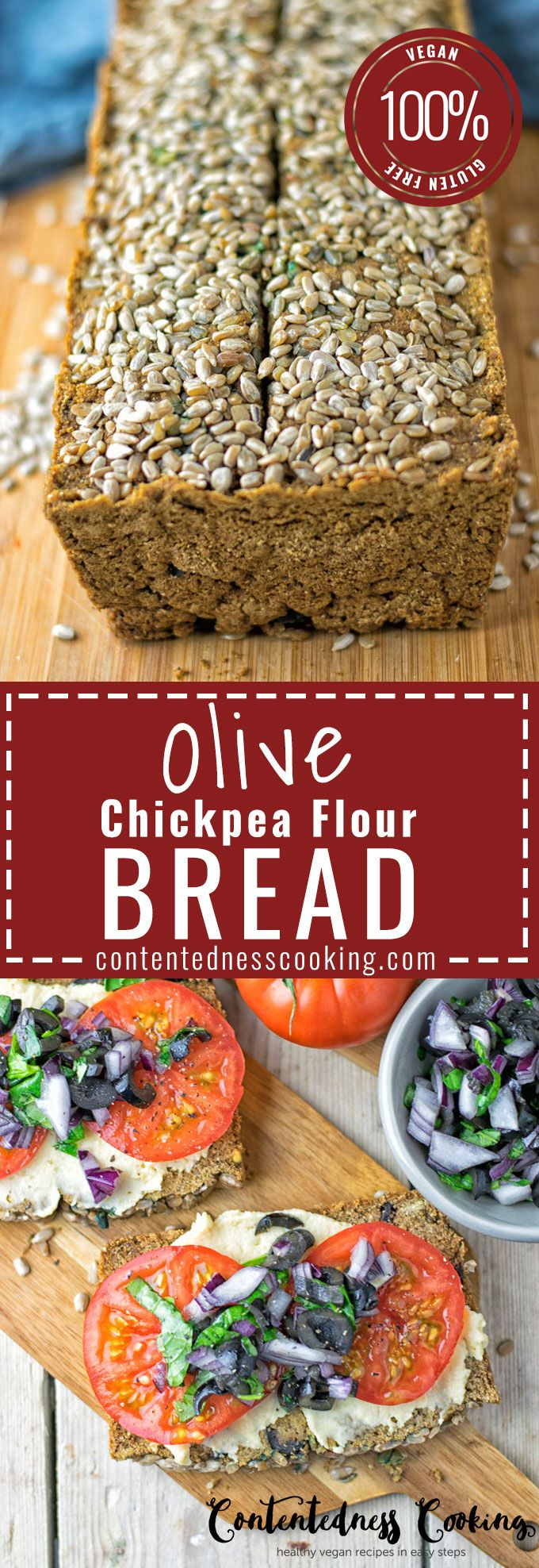 Olive Chickpea Flour Bread recipe brings you a fresh homemade vegan and gluten free bread with extra flavor. Only 5 ingredients, 3 easy steps with a hearty taste that will blow you away.