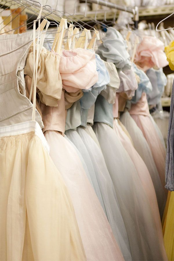 Pastel ballet costumes. Inside the wardrobe: Onegin | Behind Ballet- Shows a nice range of pastel colours that could be a good design idea x