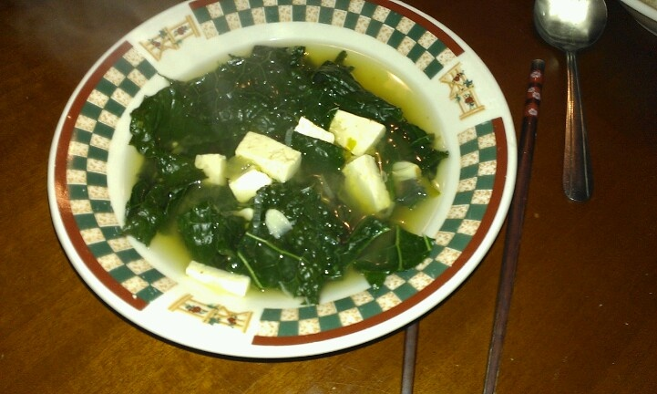 Miso Soup with Kale Has a mild miso flavor. 5 cups water, 2 scallions ...