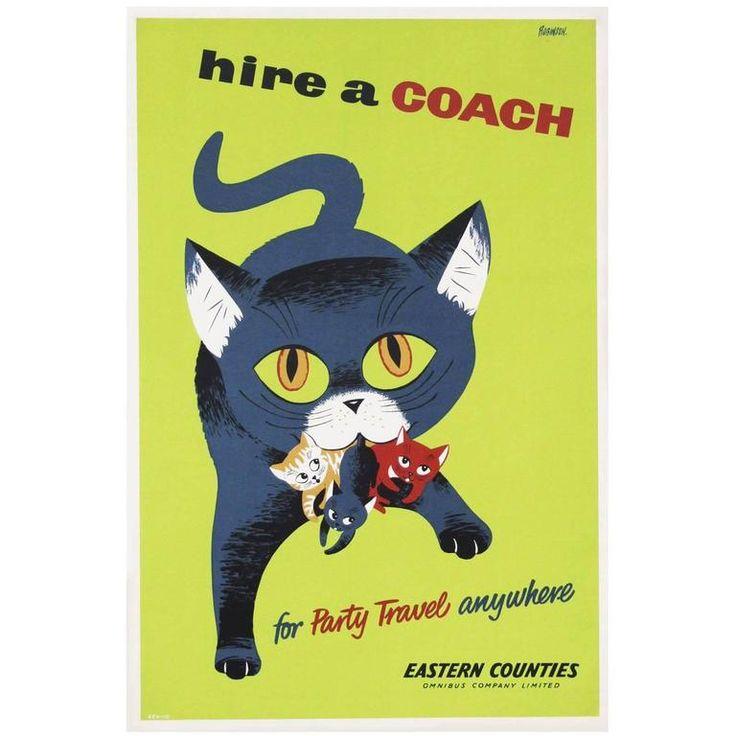 1950s British Coach Travel Poster Cat Illustration Design 1