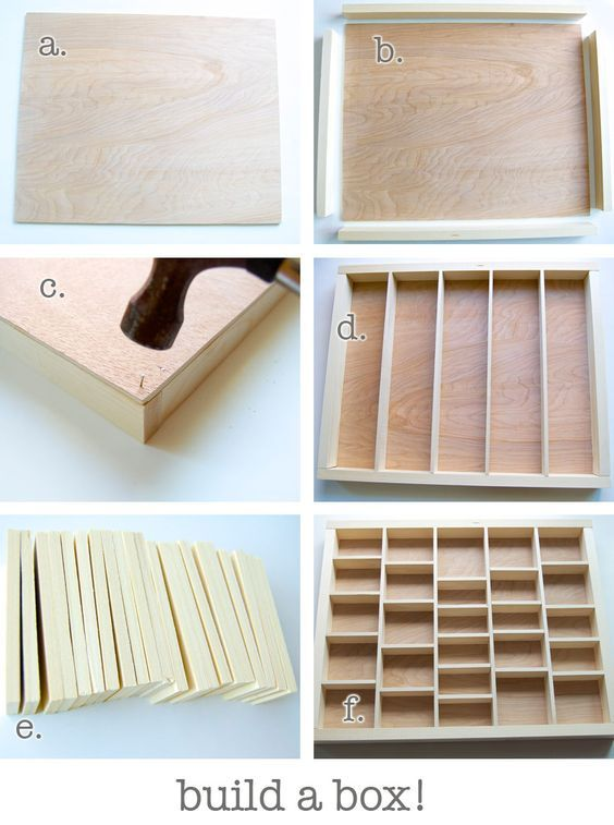 "~ Build Your Own Shadow Box ~ a) cut a piece of quarter inch plywood to the exact size of your frame. Then b) cut four pieces of 1""x2"" wood to go around the edges. Glue them down then c) hammer little nails in through the back to make it extra strong. Then cut four strips of 1/4""x2"" and glue them down in the box evenly spaced out (d). They should fit snugly. Then cut 21 little bits of 1/4""x2"". They're all exactly the same size (e). Glue them into the box, too. You might want to think ahead"