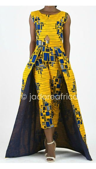 What a gorgeous way to style African print this! The unique combination makes this ankara playsuit enticing!  Definitely trying this fall style soon. dutch wax, kente, kitenge, dashiki, African styles, African prints, Nigerian style, senegal fashion,ankara styles, african clothes, dashiki, african dress, african clothing, african print dresses, African dress styles,fallfashion, womens fashion #ankara#africanprint#kente