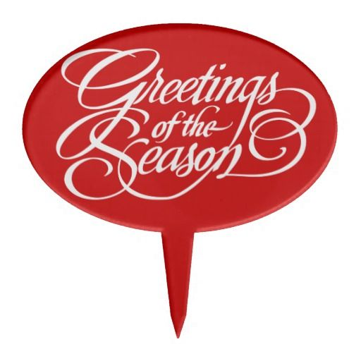 Greetings for the Season - White Cake Toppers.   Background can be changed to any colour you like.