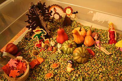 Pink and Green Mama: Preschool At Home: Fall Sensory Box