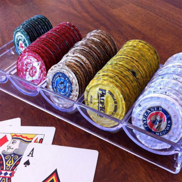 Turn old bottle caps into poker chips
