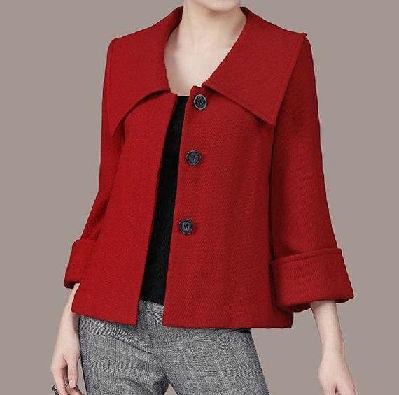 Women's Large lapel Petal Collars Wrap Sleeves Wool by zeniche