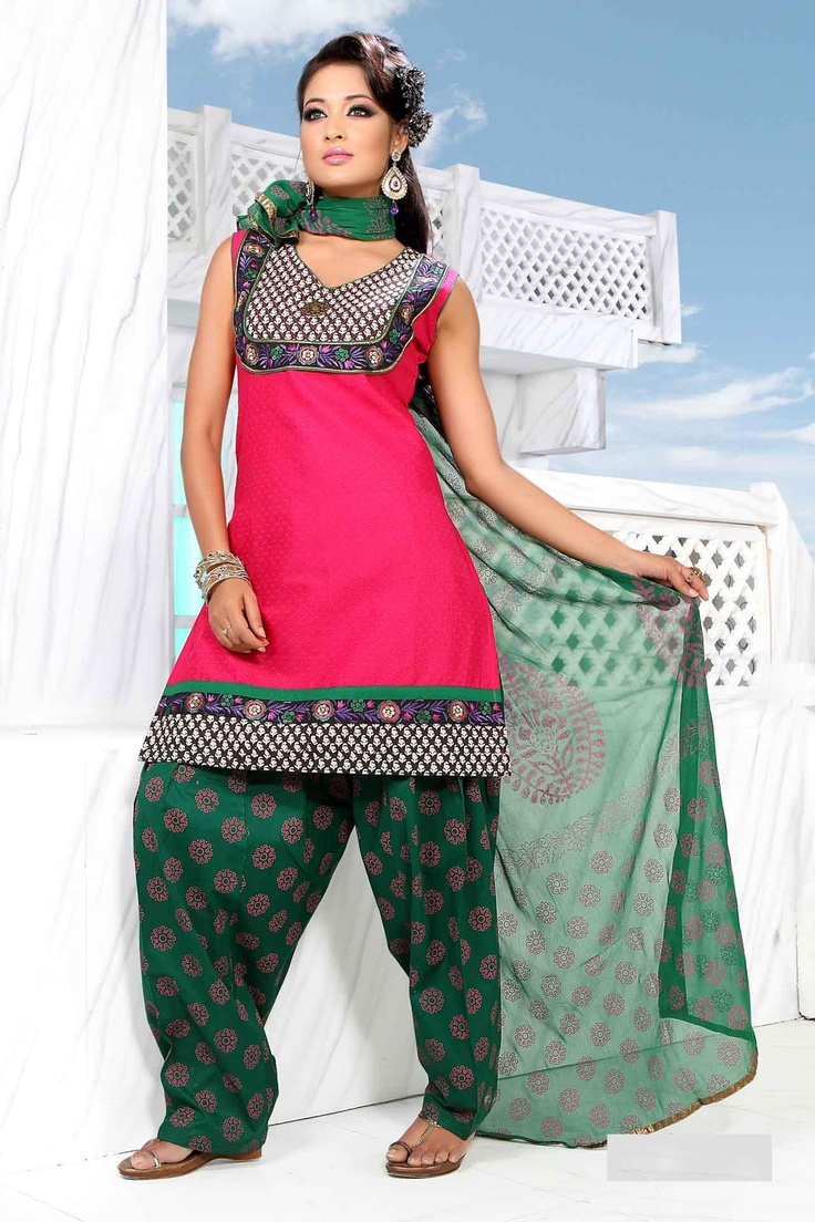 55.72 Pink Sleeveless Cotton Short Punjabi Salwar Kameez 18701