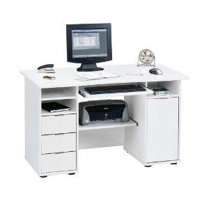Dank vieler Fächer und Ablagen ist dieser Computertisch in Weiß perfekt um Ordnung zu halten. Er verfügt über viel Stauraum und sogar ein Druckerfach