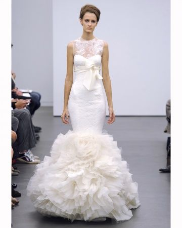 Trumpet Gown With A Lacy Illusion Neckline Vera Wang Bridal Organza
