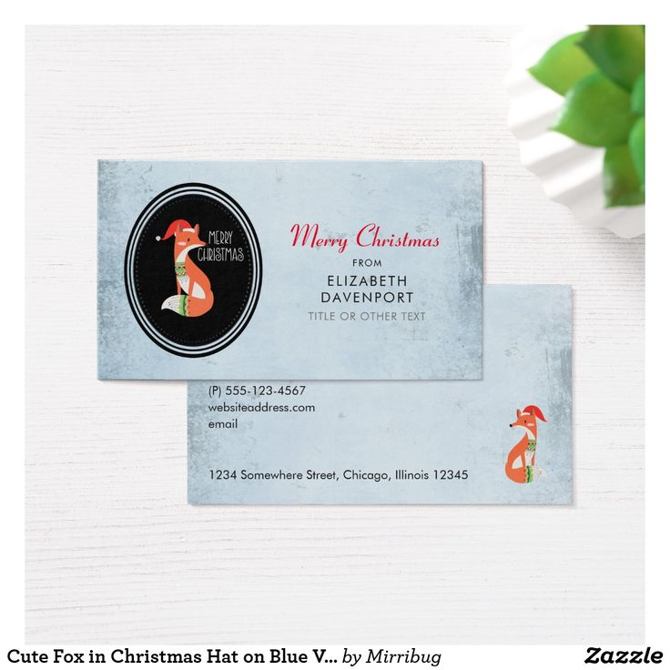 The 222 best zazzle business cards images on pinterest cute fox in christmas hat on blue vintage backdrop business card reheart Images