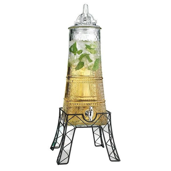 palais glassware clear glass beverage dispenser 15 gallon with glass lid and metal stand eiffel tower shape - Beverage Dispenser With Stand