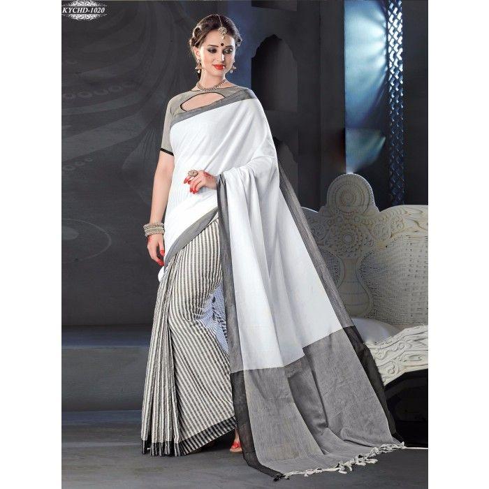 Chennai Express Cotton  white and gray Designer Sarees