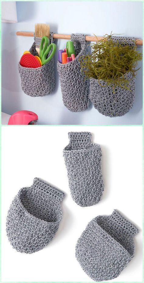 Crochet Hanging Baskets on Dowel Free Pattern - Crochet Plant Pot Cozy Free Patterns