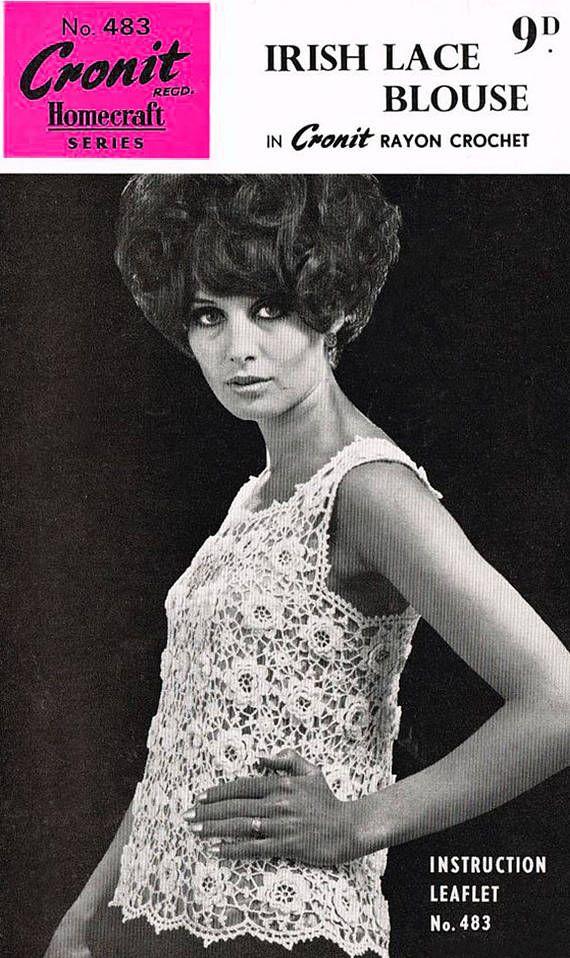 PDF Vintage 1950s Ladies Womens  Crochet Pattern  IRISH