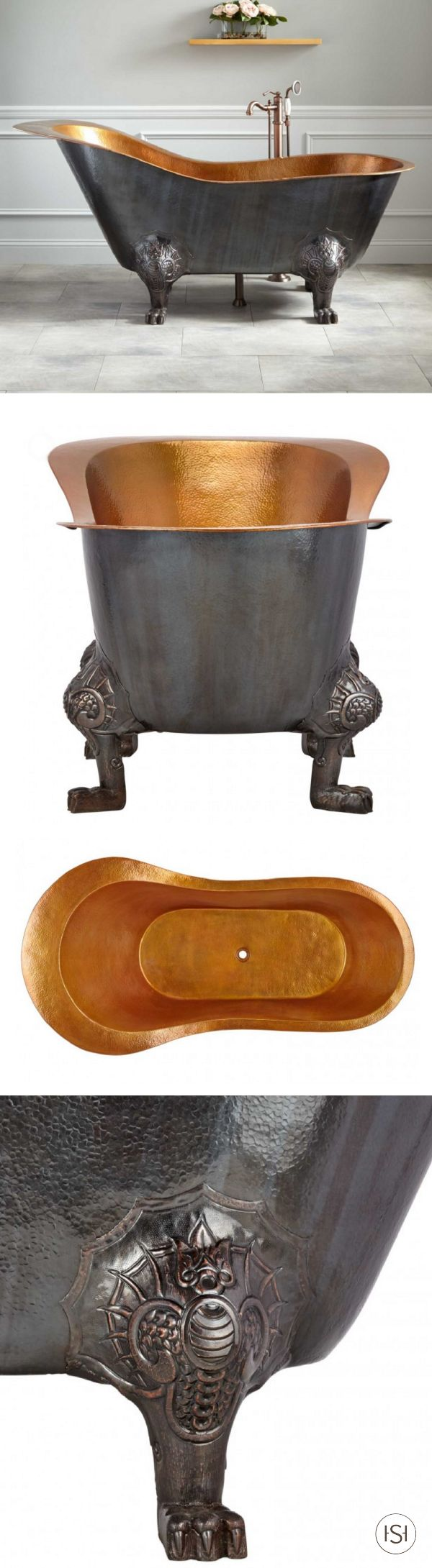 """This 72"""" McQuire Hammered Copper Slipper Clawfoot Tub with Bright Copper Interior looks like it's meant for royalty. Thankfully, you can add it to your master bathroom and relax elegantly any night of the week!"""