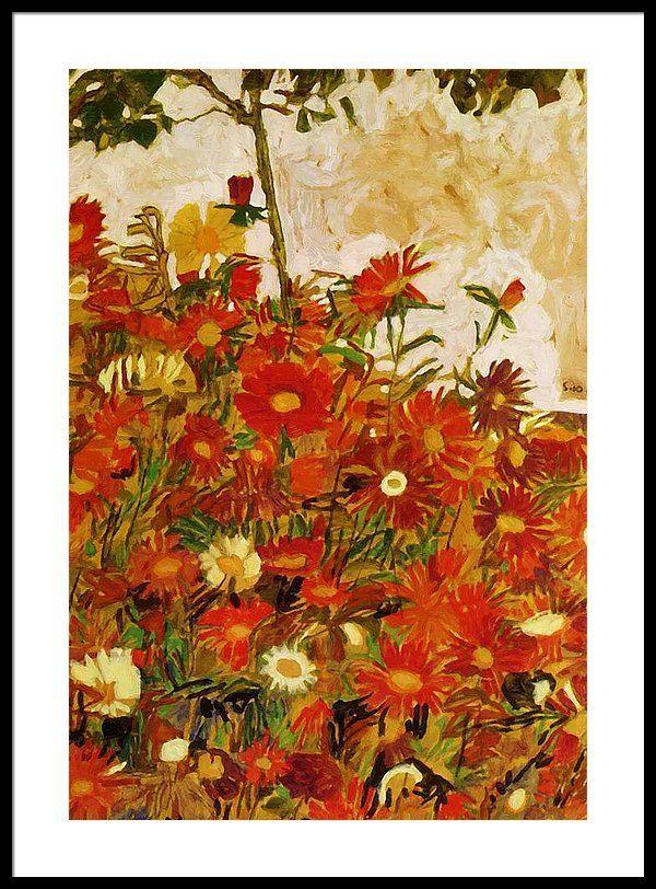 Field Of Flowers 1910 Framed Print By Schiele Egon Framed Print