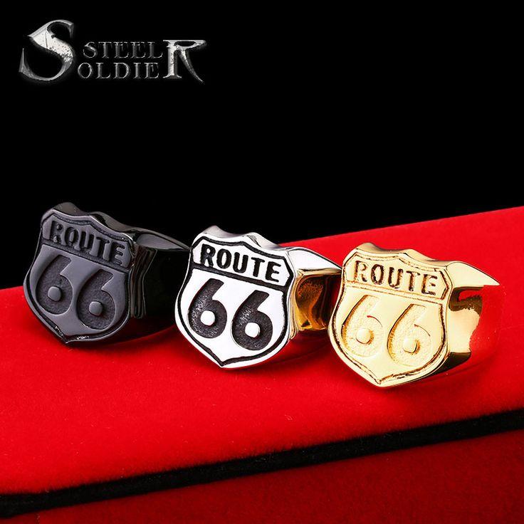 スチール兵士米国サイズ7-13小売安い男のジュエリーステンレス鋼バイカーリングルート66リング用クラブBR8-126