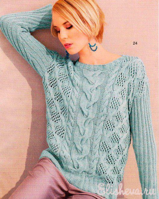 Пуловер узорчатый цвета мяты с косами вязанный спицами