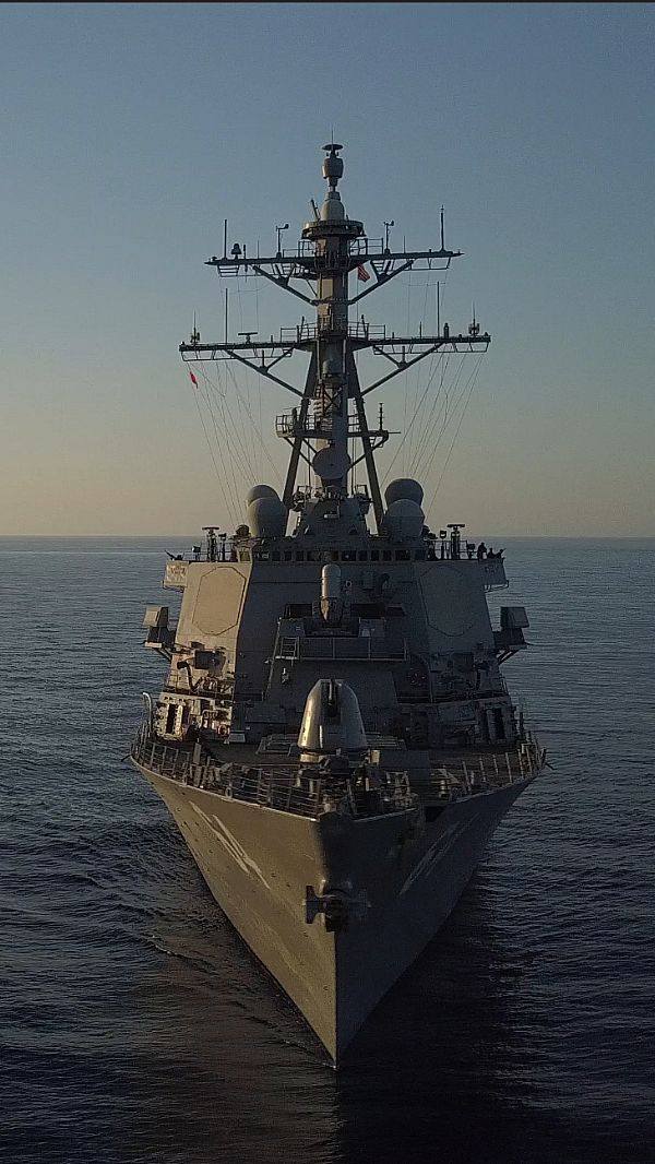 MEDITERRANEAN SEA (July 1, 2017) The Arleigh Burke-class guided-missile destroyer USS Carney (DDG 64) operates in the Mediterranean Sea July 1, 2017. Carney, forward-deployed to Rota, Spain, is conducting its third patrol in the U.S. 6th Fleet area of operations in support of U.S. national security interests in Europe. (U.S. Navy photo by Lt. j.g. Xavier Jimenez/Released)