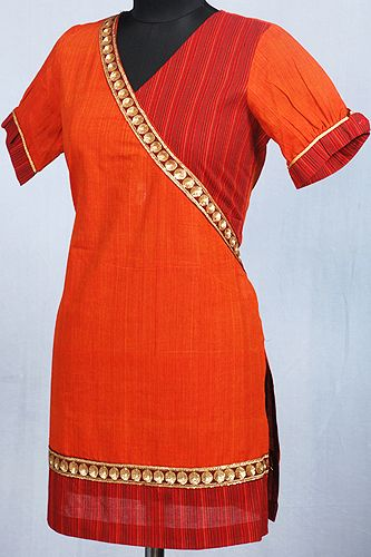 Bewitching Red and Orange Kurti in Angrakha Style.