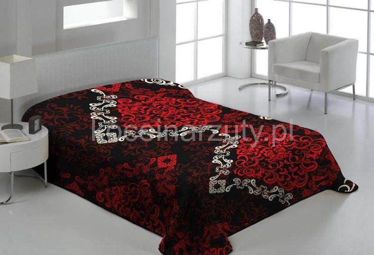 Sypialniany koc koloru czarnego na łóżko z czerwonym ornamentem