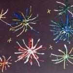 Fourth of July activities for kids. Glitter Fireworks, Wooden Flag, Red, White & Blue Popsicles, Melting Stars.