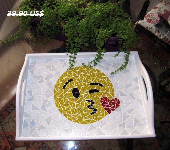 Kiss Emoji  Emoji Tray Decorative Tray Winky kiss Emoji by byGuls