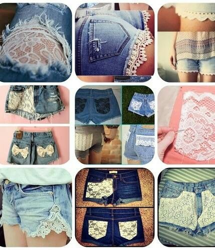 DIY shorts - love the lace on the jeans