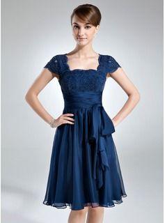 Vestidos princesa/ Formato A Decote quadrado Coquetel De chiffon Renda Vestido para a mãe da noiva com Pregueado Curvado