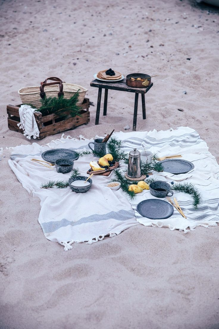 A beach picnic in Denmark - gluten-free crêpes with caramelized pears, whipped coconut cream and a stunning sea view and evening light.