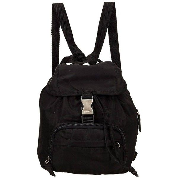 Preowned Prada Black Nylon Backpack ($396) ❤ liked on Polyvore featuring bags, backpacks, black, nylon drawstring bags, day pack backpack, prada backpack, prada and flap bag