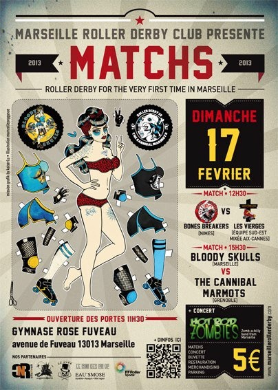 Cool French Roller Derby poster !  Bloody Skulls (Marseille) VS Cannibal Marmots (Grenoble)