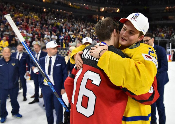William Nylander and Mitch Marner at the World Hockey Championships. In case you hadn't heard, our sweet hockey boy William Nylander's Team Sweden beat our sweet hockey boy Mitchell Marner's Team Canada in a shootout in the gold medal game of the World Hockey Championship. May 21, 2017