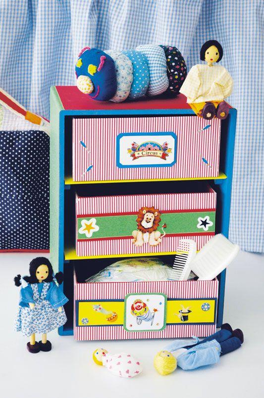 Minicômoda com cartonagem e scrapbook / DIY, Craft, Upcycle