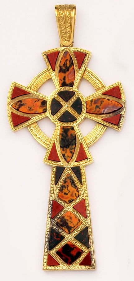 "Victorian - Scottish agate and gold Celtic cross. Beautiful autumnal  colors of ""earthy"" semi-precious stones found in Scotland. The stones are all inlay into the carved gold cross."