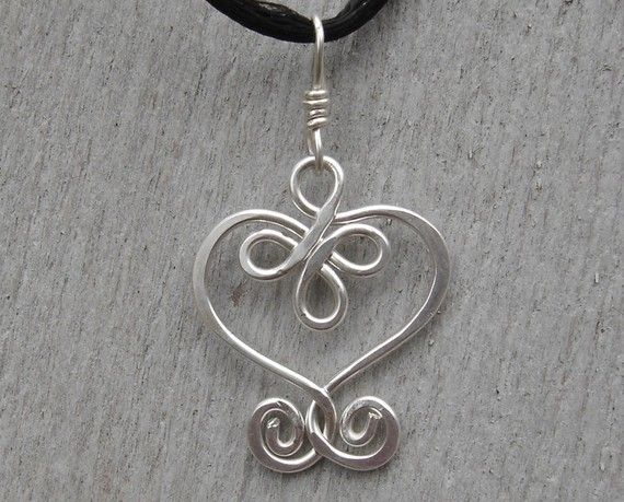 Celtic Heart Sterling Silver Wire Pendant with Swirls - Necklace