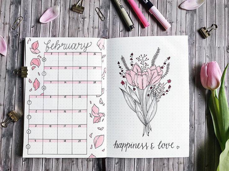Bullet journal monthly calendar, bullet journal vertical grid calendar, flower drawing, flower petal drawing.   @thuys.bujo