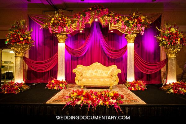 backdrops, magenta, couches, furniture, glamorous, gold, green, hot pink, reception floral, yellow, south asian, San Jose, California